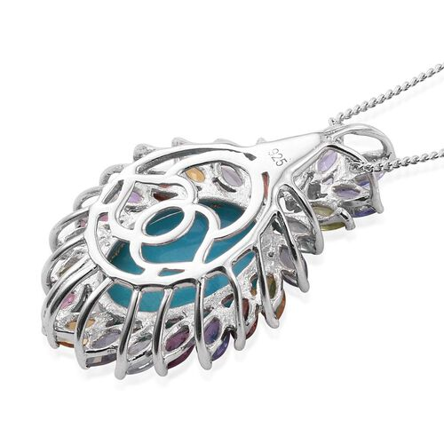 Arizona Sleeping Beauty Turquoise (Ovl 4.50 Ct), Amethyst, Iolite, Citrine, Mozambique Garnet and Multi GemStone Pendant with Chain in Platinum Overlay Sterling Silver 6.500 Ct.