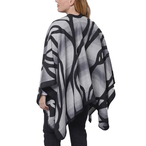 Black and Grey Colour Raised Grain Pattern Blanket Kimono (Size 133x70 Cm)