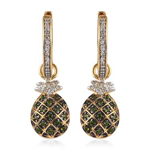 Sundays Child - Russian Diopside, Natural Cambodian Zircon Detachable Pineapple Drop Earrings with C