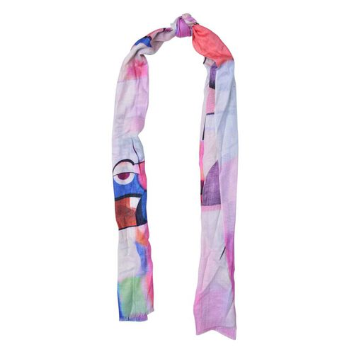 100% Wool Pink and Multi Colour Printed Scarf (Size 180x70 Cm)