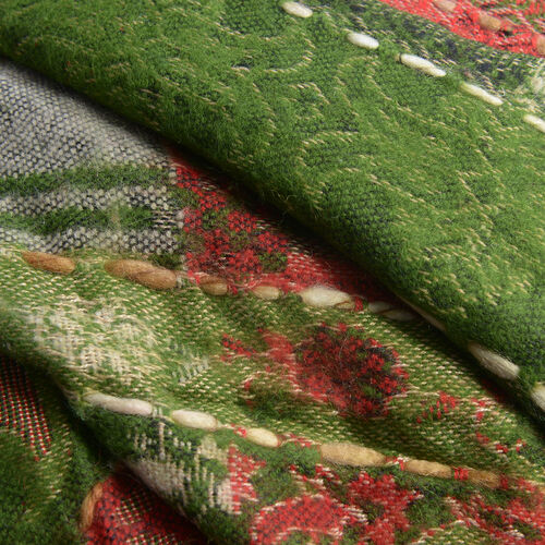 Hand Embroidered Adda Work from India - Floral Pattern Green And Multi Colour Scarf (Size 70x180 Cm)