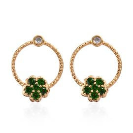 1.75 Ct Russian Diopside and Zircon Floral Earrings in Gold Plated Sterling Silver 5.83 Grams