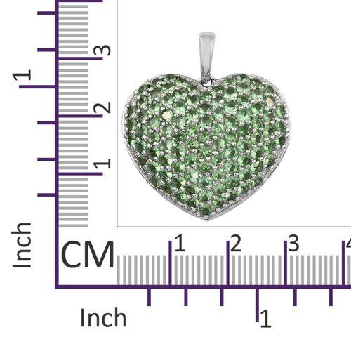 Designer Inspired-Tsavorite Garnet (Rnd) Heart Pendant in Platinum Overlay Sterling Silver 4.500 Ct.