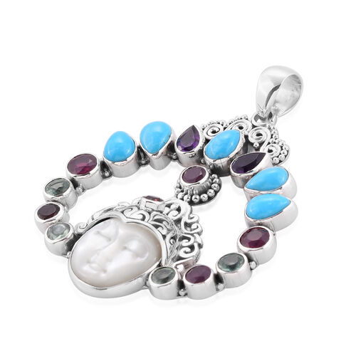Princess Bali Collection MOP Carved Face, Amethyst, African Ruby, Sleeping Beauty Mojave Turquoise and Multi Gemstone Pendant in Sterling Silver 10.580 Ct Silver wt 12.00 Gms