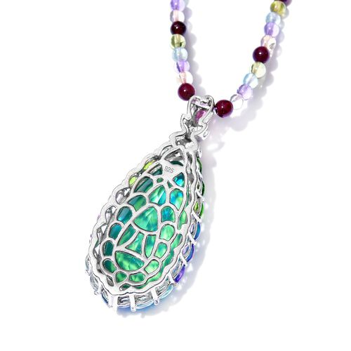 Exclusive Edition- Designer Inspired Peacock Quartz, Paraiba Apatite, Hebei Peridot, Citrine, Rhodolite Garnet, Amethyst and Multi Gem Stone Necklace (Size 20) in Sterling Silver 75.00 Ct.