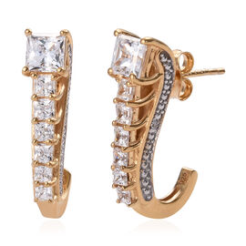 J Francis Made with Swarovski Zirconia J Hoop Earrings in Gold Plated Sterling Silver