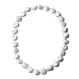 Baroque Freshwater White Pearl Beaded Necklace in Rhodium Plated Sterling Silver 24 Inch