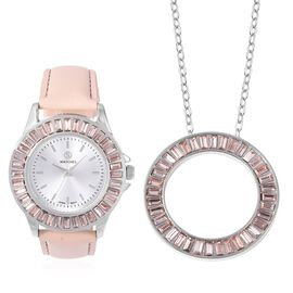 2 Piece Set - STRADA Japanese Movement Water Resistant Simulated Champagne Diamond Studded Watch wit