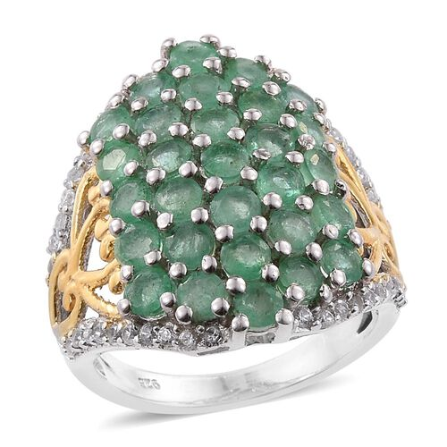 3.75 Ct Zambian Emerald and Cambodian Zircon Cluster Ring in Gold Plated Sterling Silver 7.32 Grams