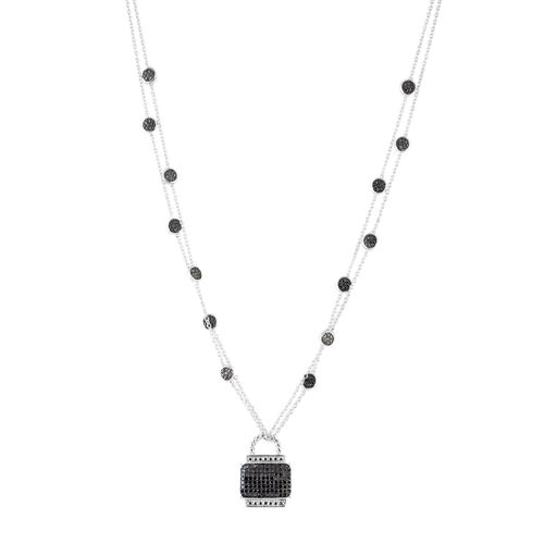 0.50 Carat Black Diamond Station Necklace in Rhodium Plated Sterling Silver 8.8 Grams 18 Inch