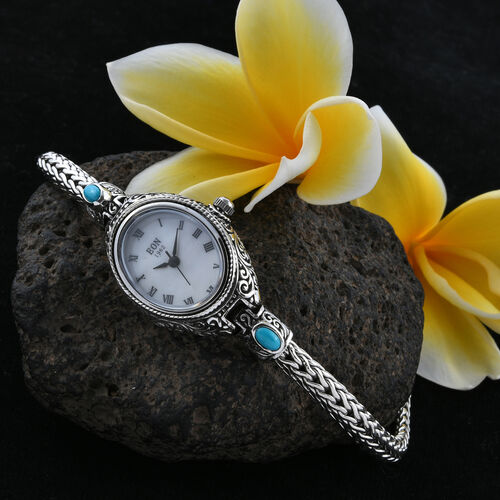 Royal Bali Collection EON 1962 Arizona Sleeping Beauty Turquoise (Ovl) MOP Tulang Naga Bracelet Watch (Size 8) in Sterling Silver 1.000 Ct., Silver wt 23.00 Gms.