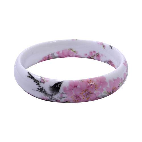 Bird and Floral Motif Ceramic Bangle (Size 8.5)