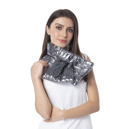 Black and Silver Colour Scarf with Bling Effect (Size 107x18 Cm)