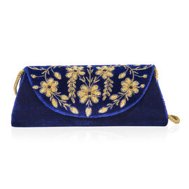 Peacock Sequence Hand Embroidered Velvet Clutch with Shoulder Strap (Size 25.4x12.7 Cm) - Royal Blue