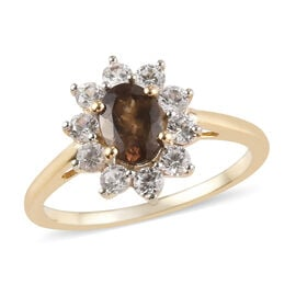 Tuscon Find- 9K Yellow Gold Change Color Garnet (Ovl 7x5mm), Natural Cambodian Zircon Floral Ring 1.