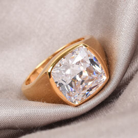 J Francis 14K Gold Overlay Sterling Silver Solitaire Ring Made with SWAROVSKI ZIRCONIA 15.35 Ct, Silver wt 6.35 Gms