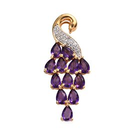 Zambian Amethyst (Pear), Natural Cambodian Zircon Peacock Pendant in 14K Gold Overlay Sterling Silve