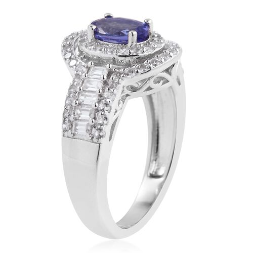 Designer Inspired -Tanzanite (Ovl),  Natural Cambodian White Zircon Ring in Rhodium Overlay Sterling Silver 2.000 Ct.