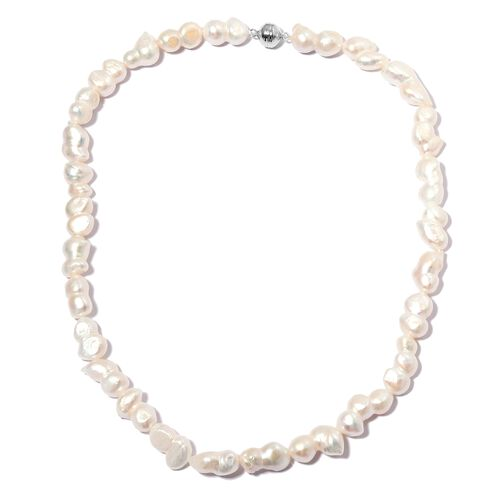 Limited Edition- Fresh Water Baroque Pearl Necklace (Size 20) in Rhodium Overlay Sterling Silver wit