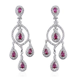 ELANZA Simulated Ruby (Pear), Simulated Diamond Chandelier Earrings (with Push Back) in Rhodium Over