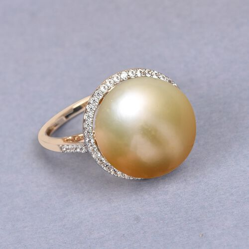 9K Yellow Gold Golden South Sea Pearl and Natural Cambodian Zircon Ring