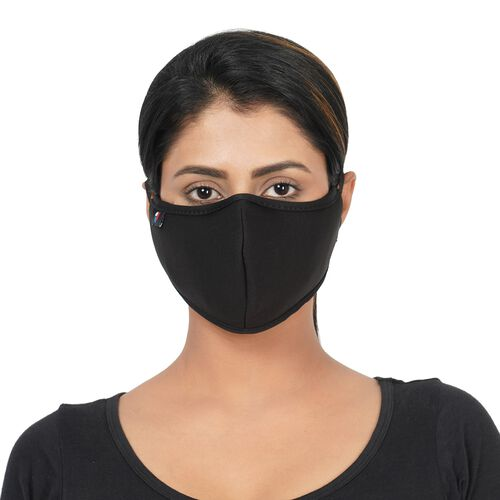 6 Layer Reusable and Washable Face Covering (One Size - 13x24cm) - Black