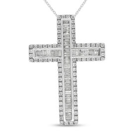 14K White Gold SGL Certified Diamond (I1-I2/G-H) Cross Pendant With Chain (18 in) 2.000  Ct.