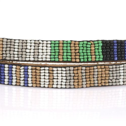 Genuine Leather Handmade Grey, White, Blue and Multi Colour Seed Beaded Belt (Size 110x1.25 Cm)