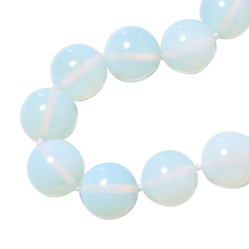 One Time Deal- Opalite (Round 20MM)  Necklace (Size 20) with Magnetic Lock in Rhodium Overlay Sterling Silver