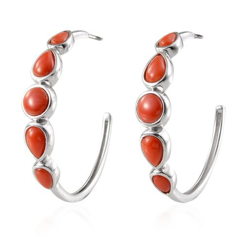 Mediterranean Coral (3.00 Ct) Platinum Overlay Sterling Silver Earring  3.000  Ct.