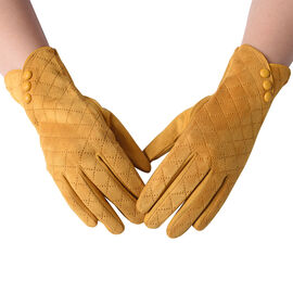 Checkered Pattern Gloves with Button (Size 9x23cm) - Yellow