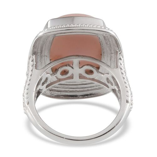 Peruvian Pink Opal (Cush) Ring in Platinum Overlay Sterling Silver 11.750 Ct.