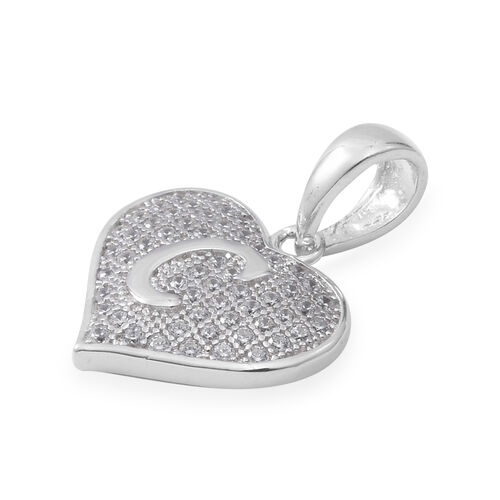 ELANZA Simulated Diamond (Rnd) Heart Initial C Pendant in Rhodium Overlay Sterling Silver