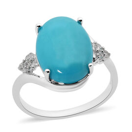 ILIANA 4.70 Ct AAA Arizona Sleeping Beauty Turquoise and Diamond Solitaire Ring in 18K White Gold