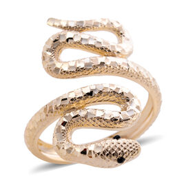 One Time Close Out Deal - 9K Yellow Gold Enamelled Serpent Ring