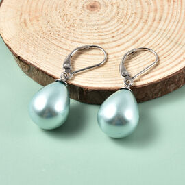 Blue Shell Pearl Lever Back Earrings in Rhodium Overlay Sterling Silver