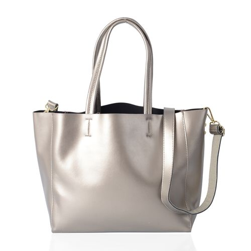 2 Piece Set-100% Genuine Leather Metallic Silver Colour Tote Bag (Size 46x32x29x13 Cm) and Pouch (Size 32x23x13 Cm)
