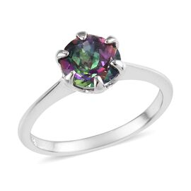 Northern Lights Mystic Topaz (Rnd 7 mm) Solitaire Ring in Platinum Overlay Sterling Silver 1.50 Ct.