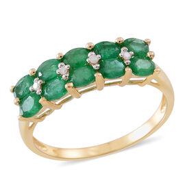 9K Yellow Gold AAA Kagem Zambian Emerald (Ovl), Natural White Cambodian Zircon Ring 1.540 Ct.