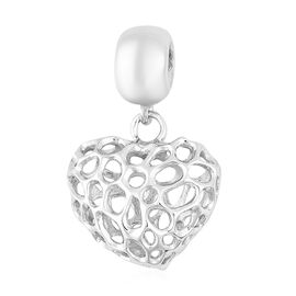 RACHEL GALLEY Rhodium Overlay Sterling Silver Amore Heart Charm or Pendant