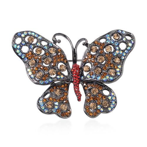 Multi Colour Austrian Crystal (Rnd) Butterfly Brooch with Black Plating