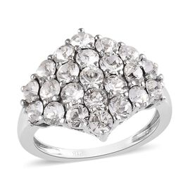 J Francis - Crystal from Swarovski White Colour Crystal (Rnd) Cluster Ring in Platinum Plated