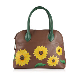 100% Genuine Leather Hand Painted Sunflower Design Shoulder Bag (Size 36X26X13 Cm)