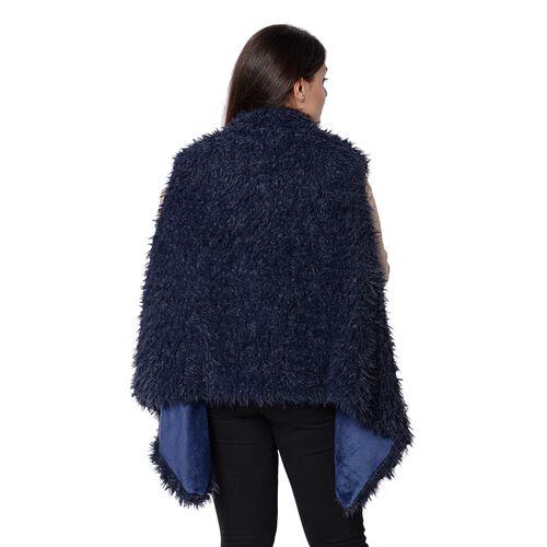 Faux Fur Sleeveless Vest (Size 65x65 Cm) - Navy Blue