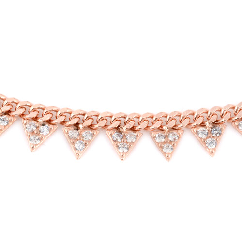 ELANZA Simulated Diamond Necklace (Size 16.5 with 2 inch Extender) in Rose Gold Overlay Sterling Silver 2.10 Ct, Silver wt 7.00 Gms