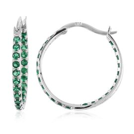 ELANZA Simulated Emerald (Rnd) Hoop Earrings (with Clasp Lock) in Rhodium Overlay Sterling Silver