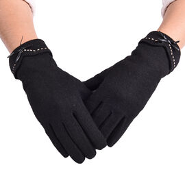 Super Soft Winter Cashmere Gloves with Bowknot - Black