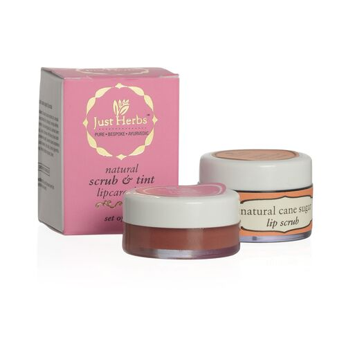 Set of 2 - Just Herbs Tinted Lip Balm (8g) and Cane Sugar Lip Scrub (15g)