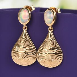 Sundays Child Ethiopian Welo Opal Drop Earrings (with Push Back) in 14K Gold Overlay Sterling Silver 1.13Ct.