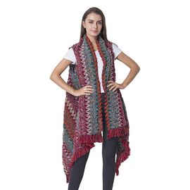 Italian Designer Inspired-Red and Multi Colour Chevron Pattern Kimono with Tassels (Size 75x50 Cm)